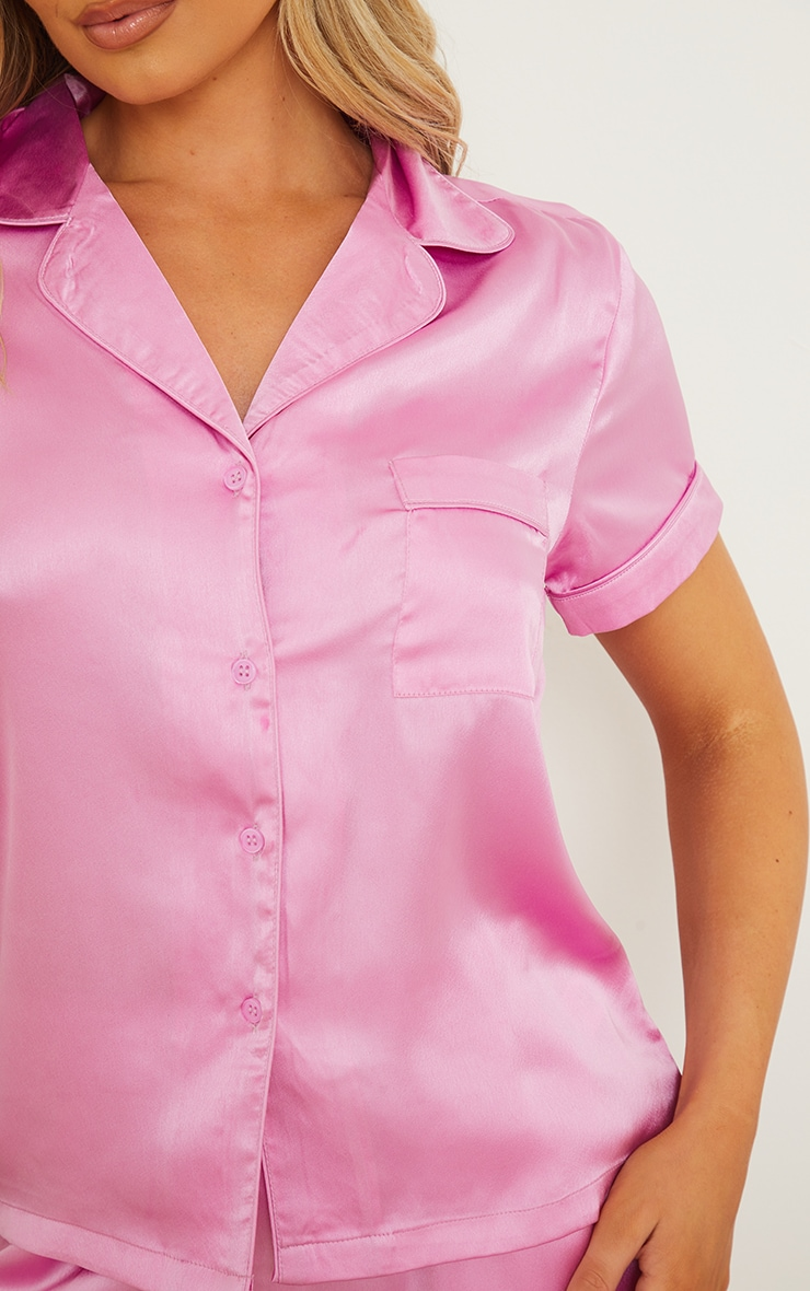 Dusty Pink Satin Short Sleeve Shirt And Trousers Pj Set 4