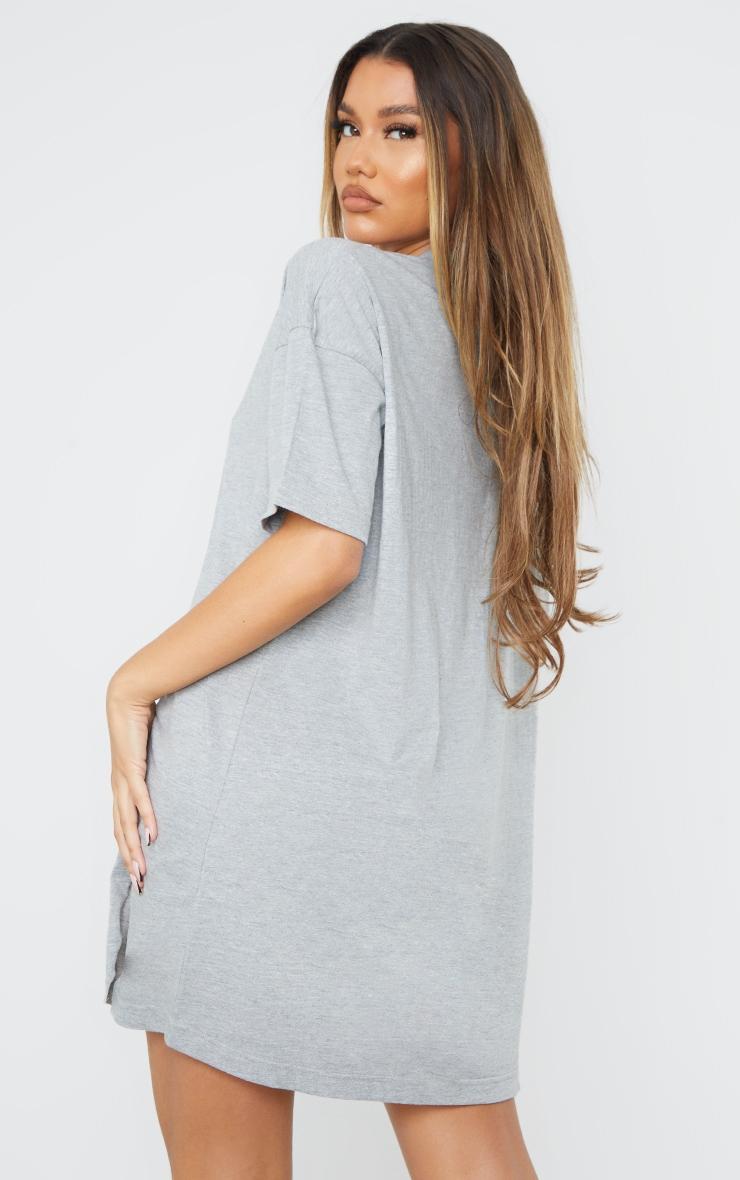Grey Double Raw Edge Split Hem T Shirt Dress 2