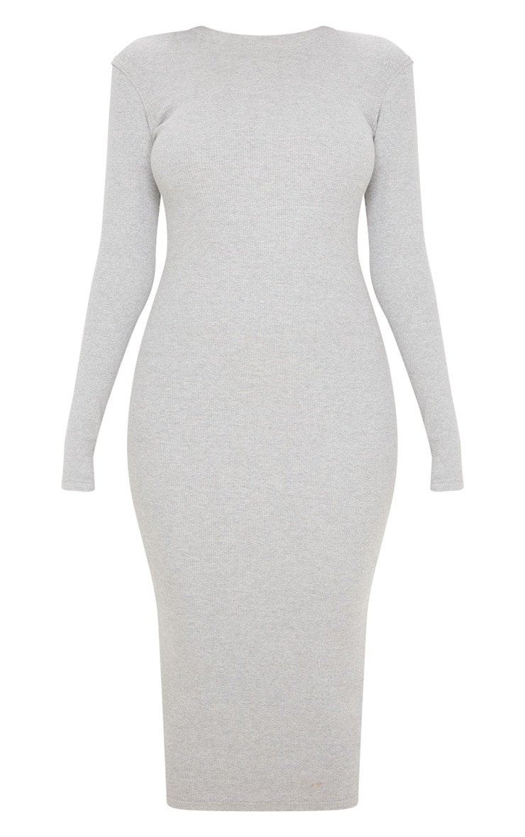Grey Heavy Rib Long Sleeve Crew Neck Midi Dress 3