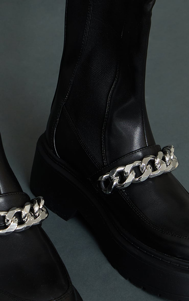 Black Faux Leather Chain Detail Elasticated Knee Boots 4