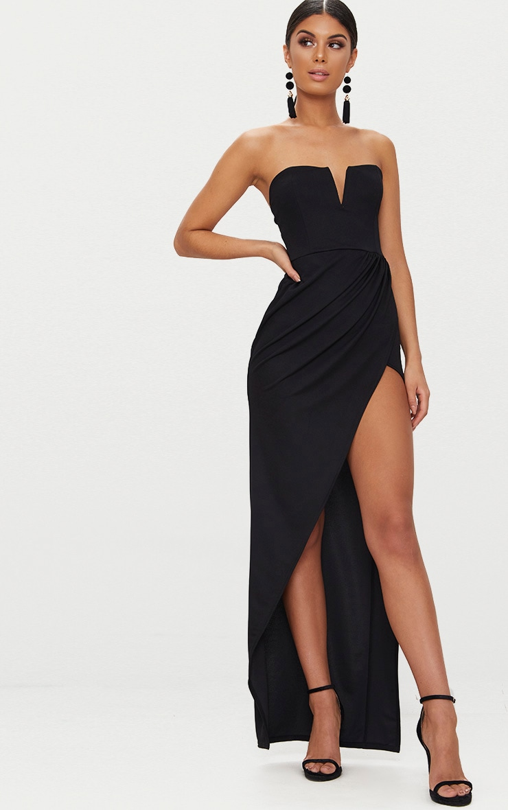 Black Bandeau V Bar Wrap Detail Maxi Dress 1