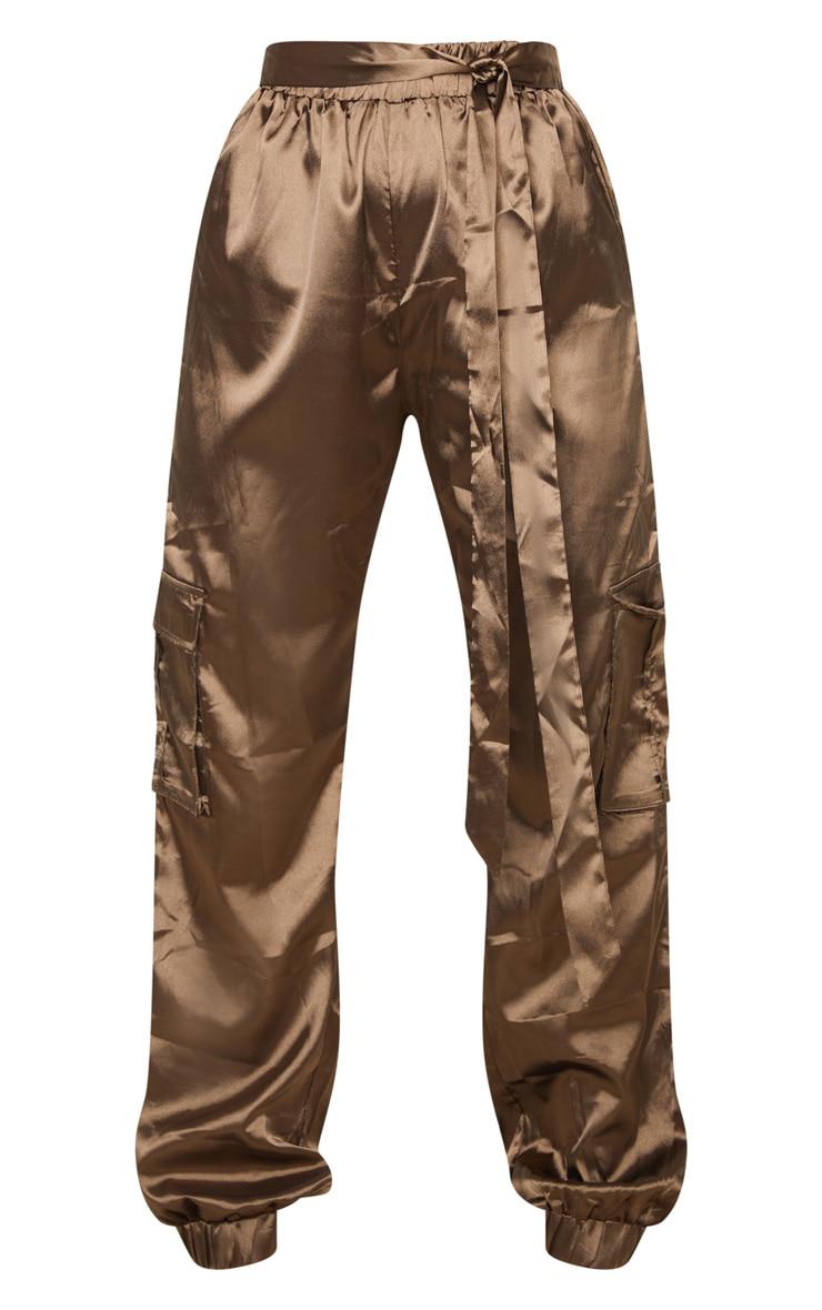 Petite Khaki Satin Cargo Trouser 3