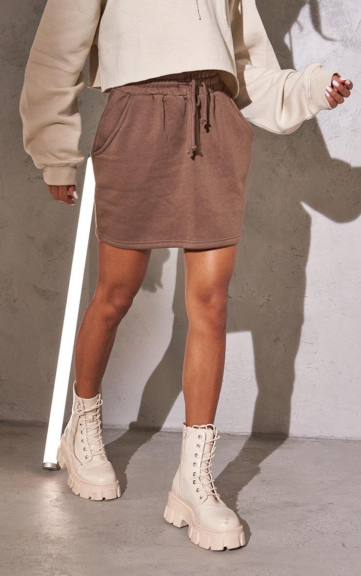 RENEW Chocolate Sweat Drawstring Waist Mini Skirt 2