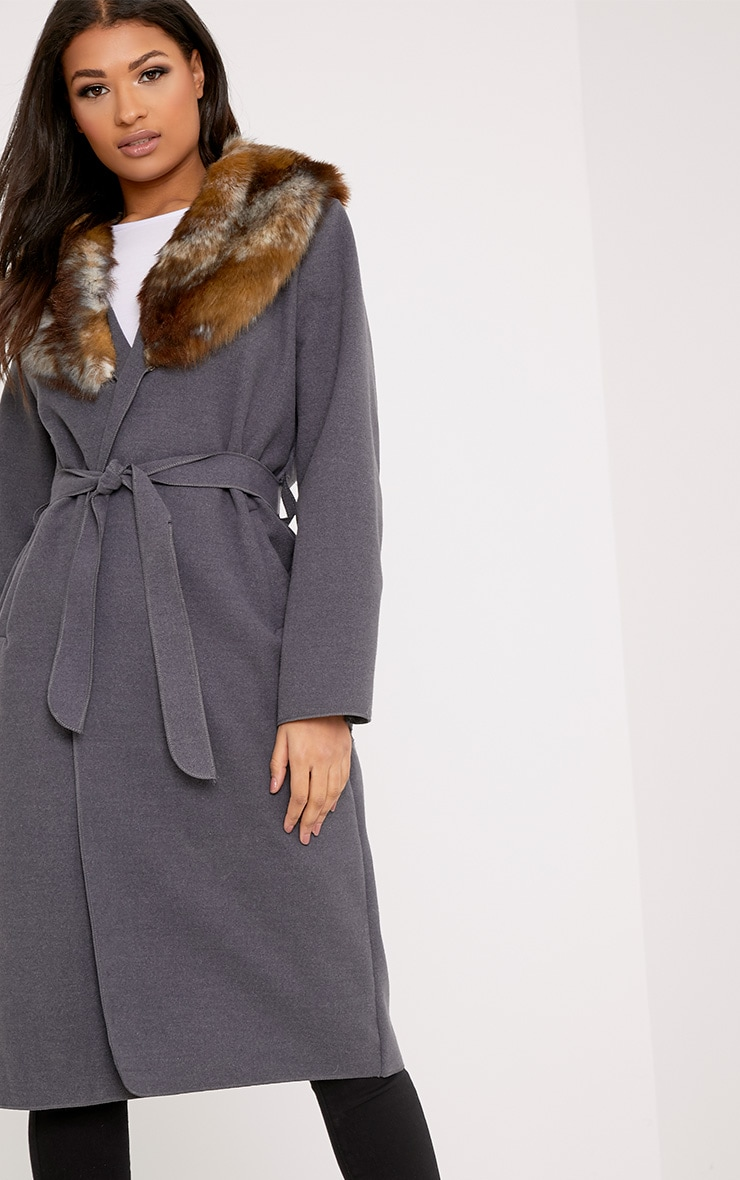 Eira Grey Faux Fur Collar Oversized Belt Coat 1
