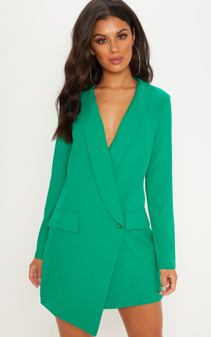 Green Asymmetric Hem Oversized Blazer Dress 1