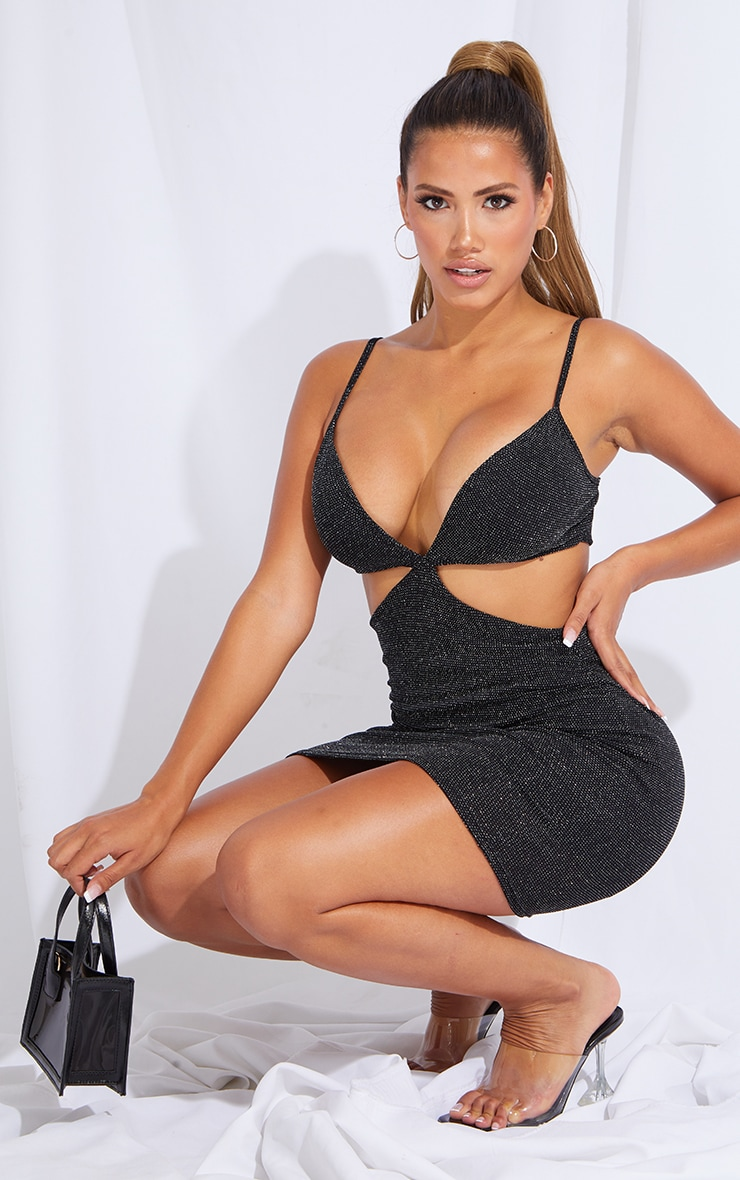 Shape Black Glitter Cut Out Side Bodycon Dress 1
