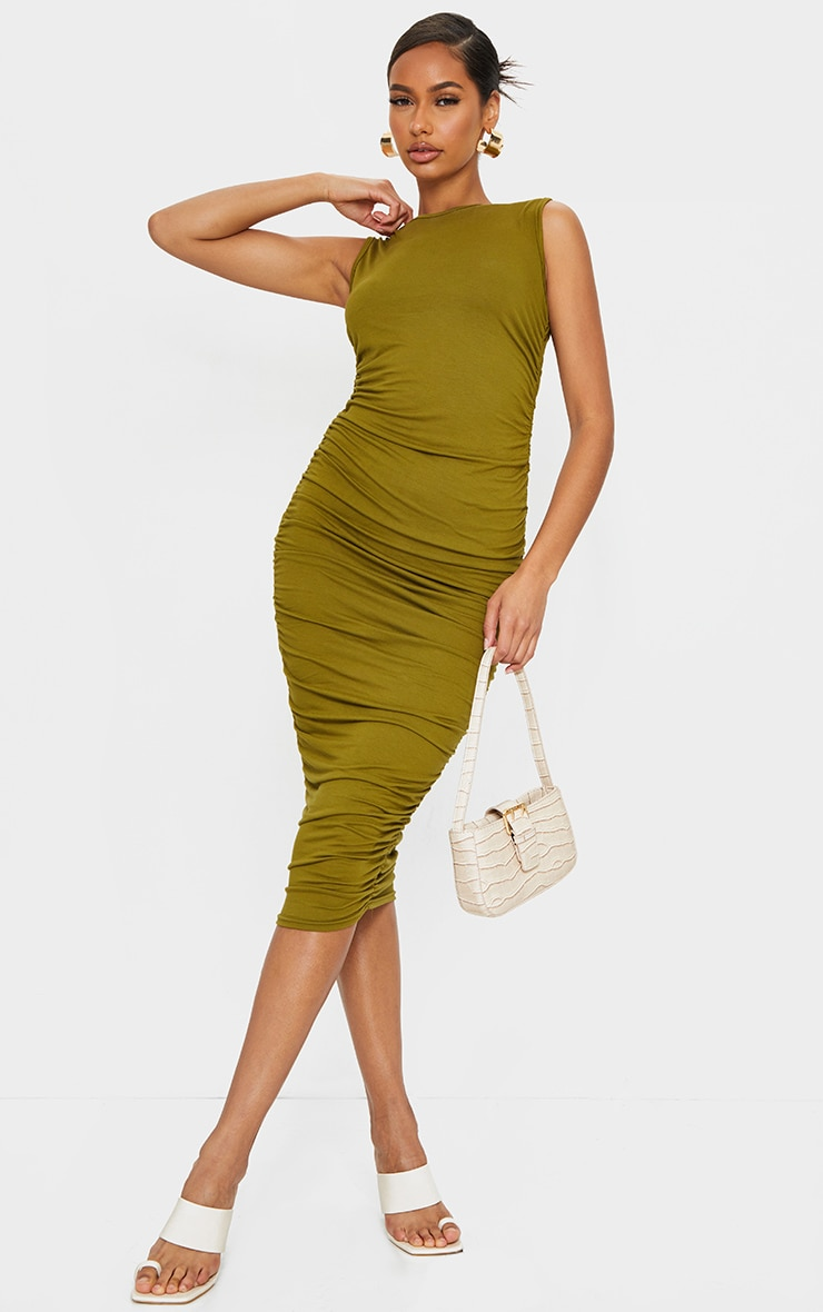 Olive Sleeveless Crew Neck Ruched Side Midi Dress 1