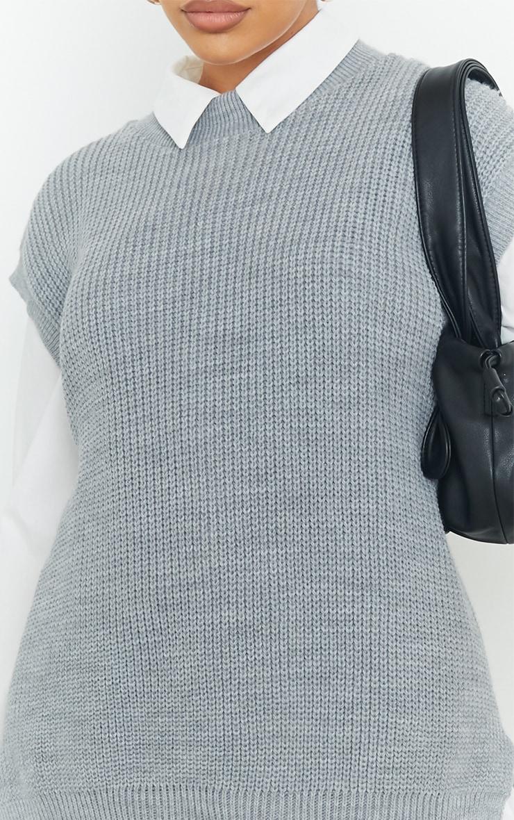 Grey Round Neck Side Split Knitted Vest 4