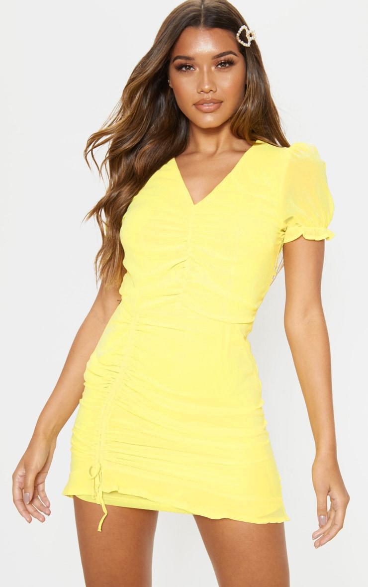 Lemon Ruched Detail Bodycon Dress 1