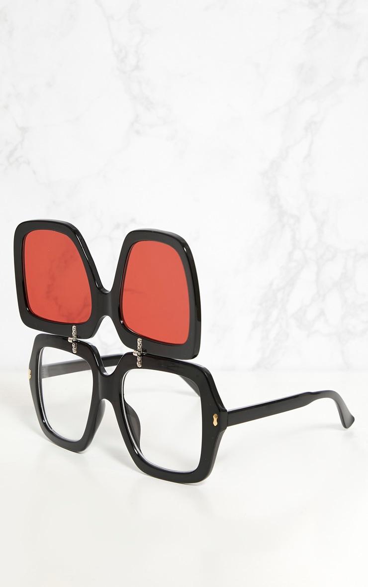 Red Lensed Chunky Flip Up Sunglasses 5