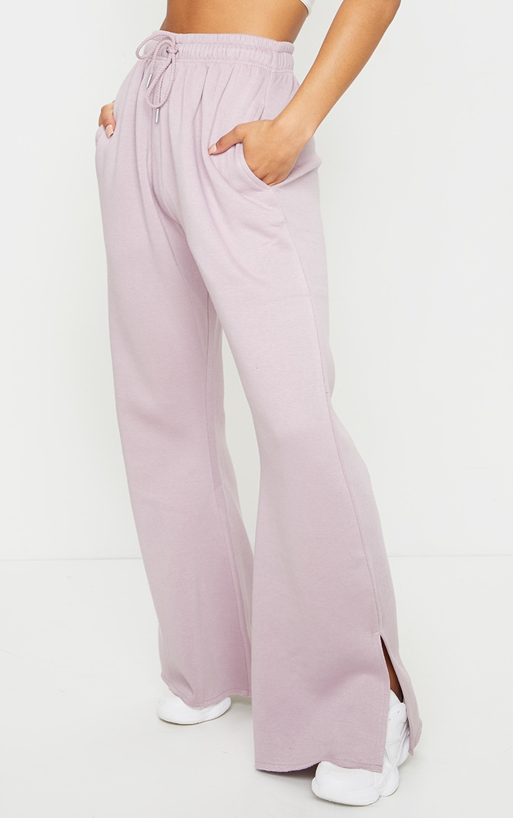 Dusty Lilac Draw String Waist Split Hem Flare Joggers 2