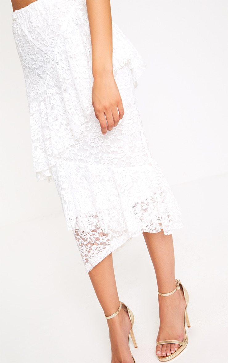 White Asymmetric Long Line Lace Midi Skirt 4
