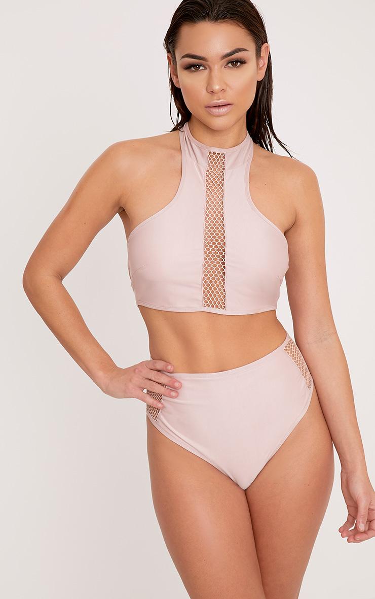 8b773d4bbd086 Meeya Pink Sports Top Fishnet Bikini Top image 1