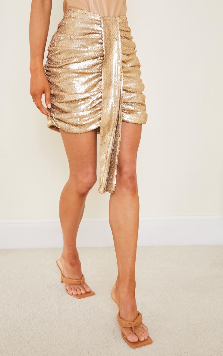 Gold Sequin Drape Skirt 2