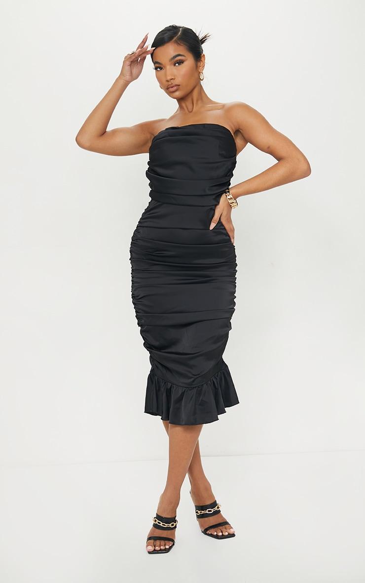Black Satin Bandeau Ruched Frill Hem Midi Dress 1