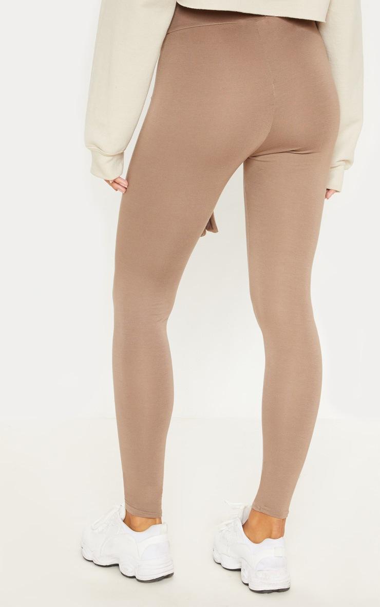 Taupe Tie Waist Detail Legging 4