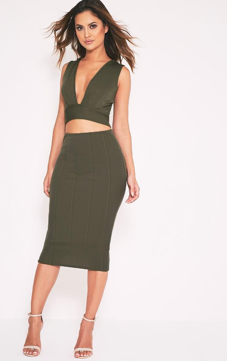 Cecelia Khaki Bandage Midi Skirt 1