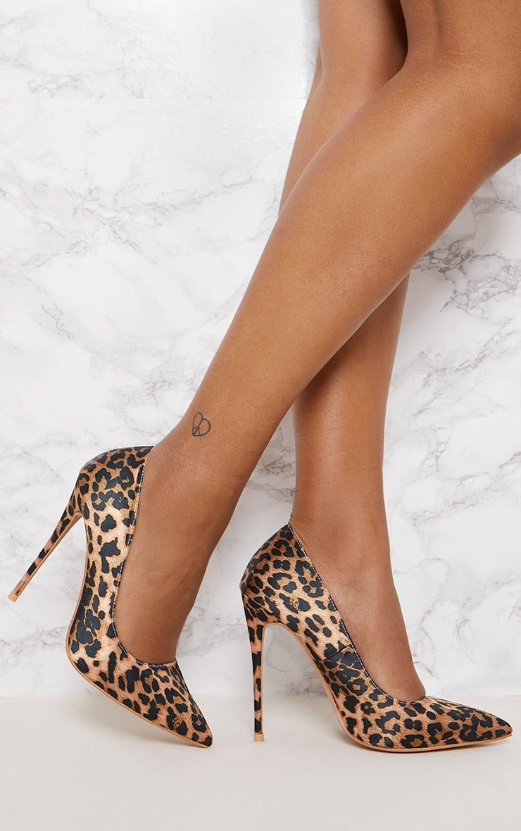 0c6d40b2a2a Leopard Print High Satin Court Shoes image 1