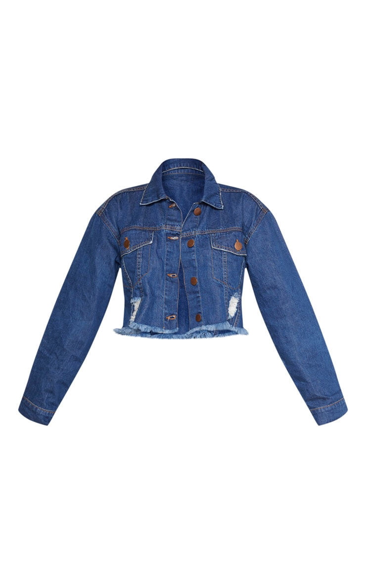 Petite Dark Wash Raw Edge Cropped Denim Jacket 3