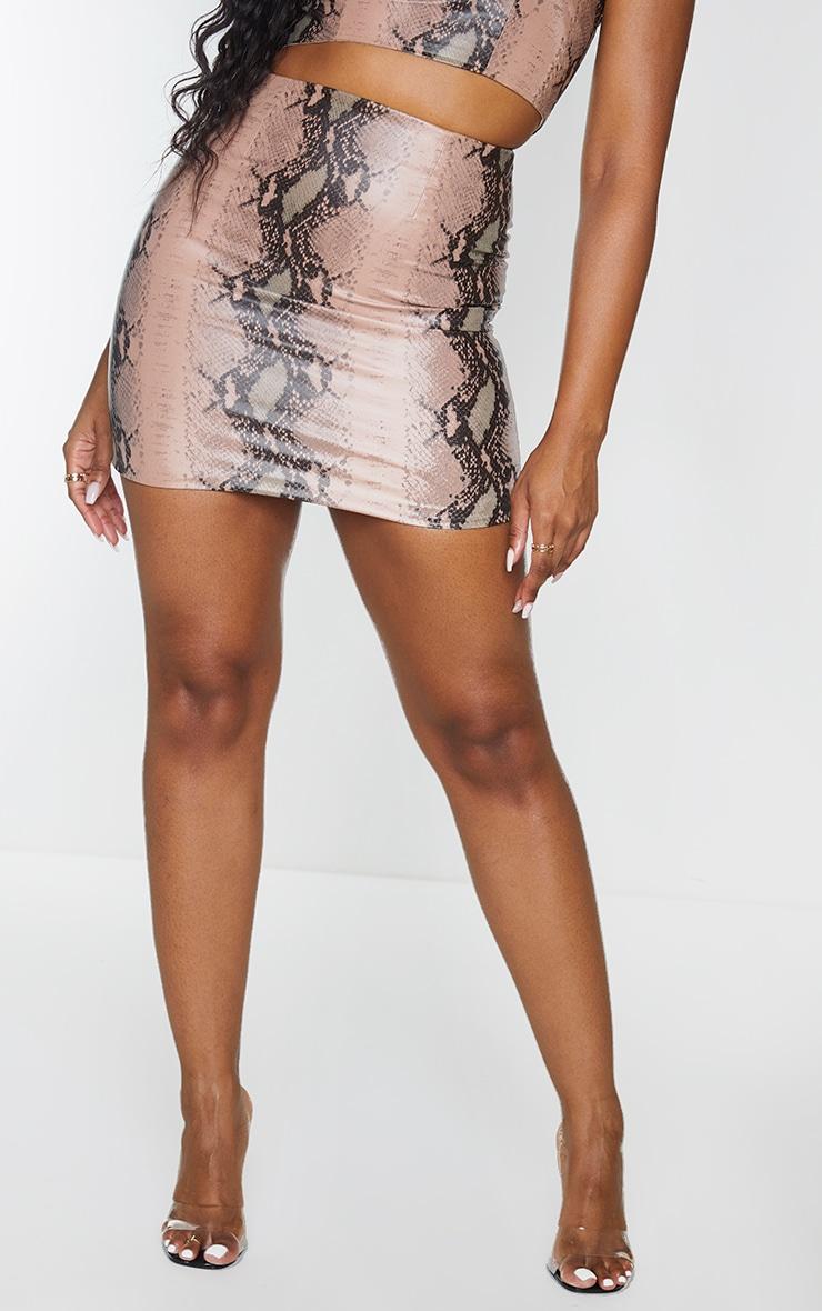 Light Brown Snake Print Woven Mini Skirt 2