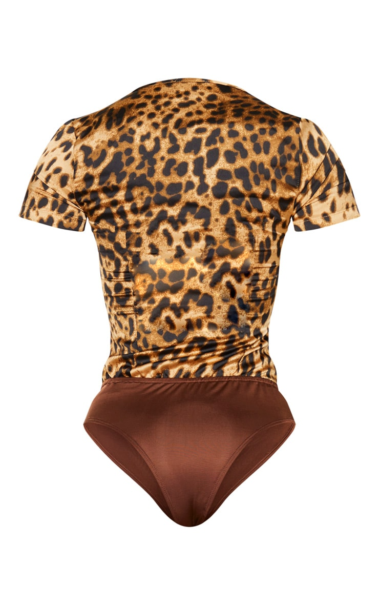 Tan Leopard Satin V Wire Cup Ruched Bodice Bodysuit 7