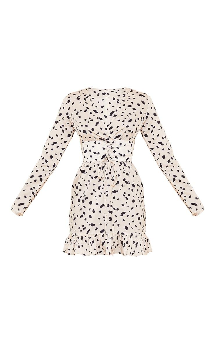 Cream Dalmatian Print Corset Long Sleeve Swing Dress 5