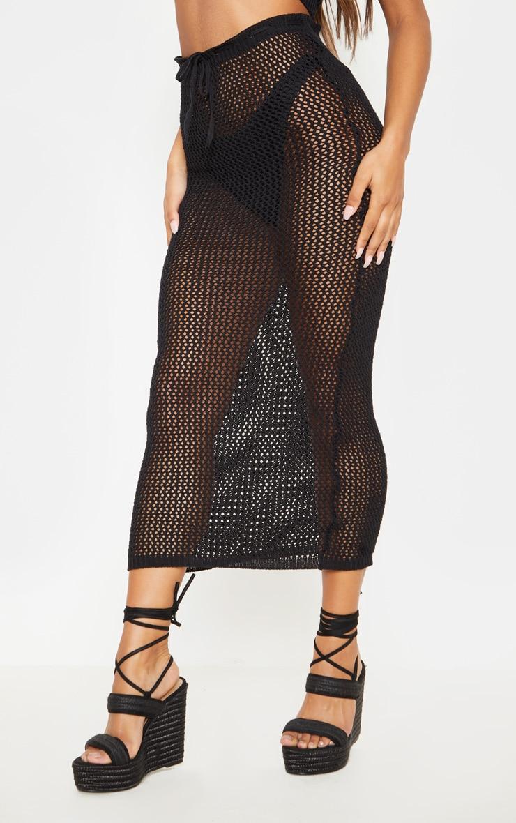 Ensemble bralette + jupe longue en crochet noir  4