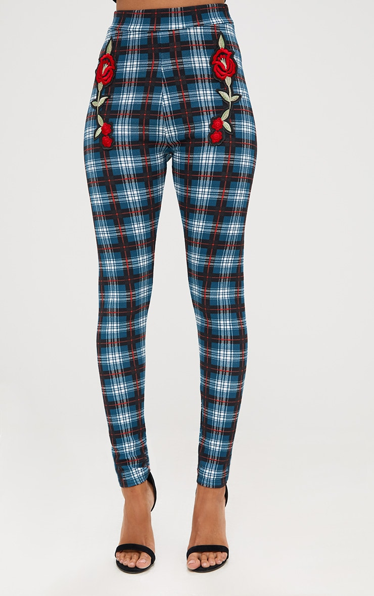 Forest Green Check Applique Skinny Trousers 2