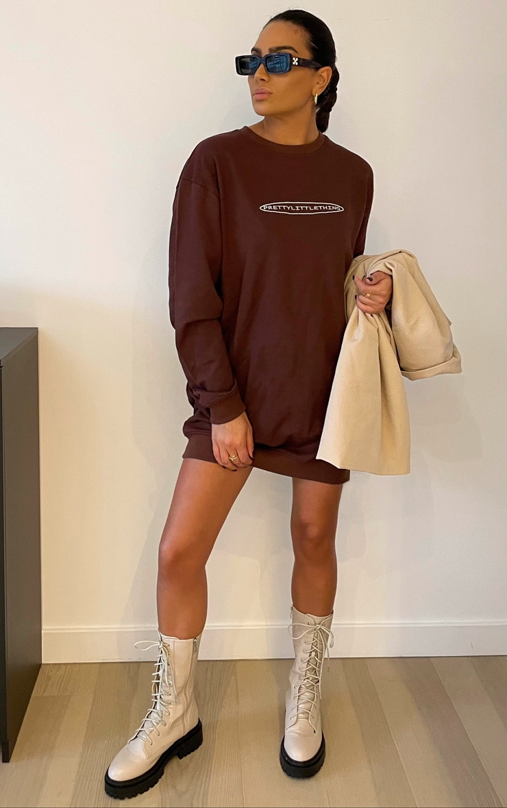 PRETTYLITTLETHING Chocolate Embroided Crew Neck Oversized Sweater Dress 1