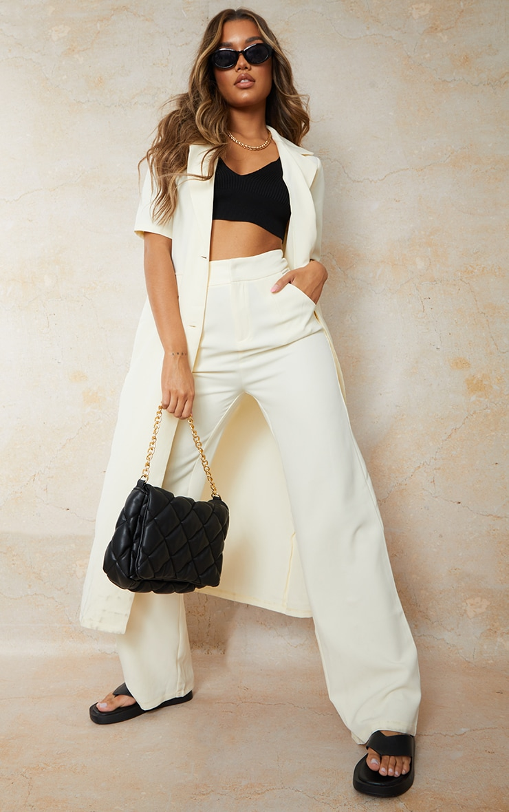Cream Woven Pleated Front Wide Leg Trousers image 1
