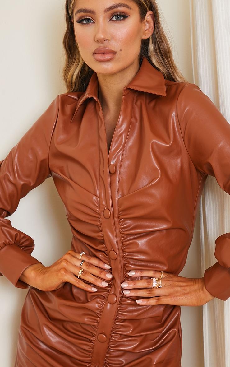 Chocolate PU Ruched Shirt Style Bodycon Dress 4