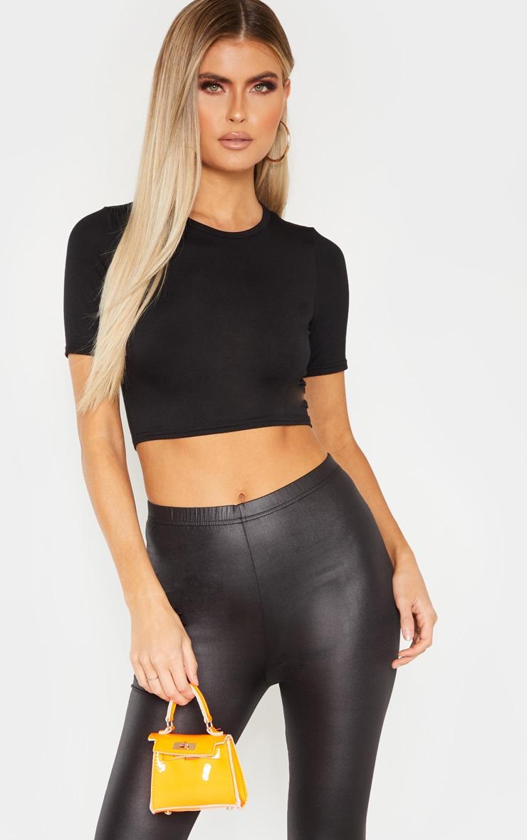 Tall Black Short Sleeve Crop Top 1