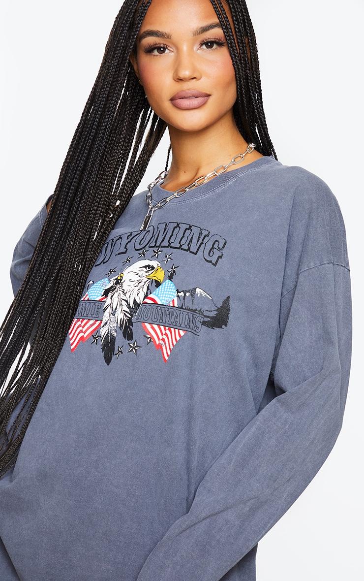 Black Wyoming Printed Washed Long Sleeve T Shirt 4