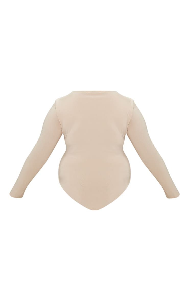 Plus Stone Second Skin Long Sleeve Thong Bodysuit 4