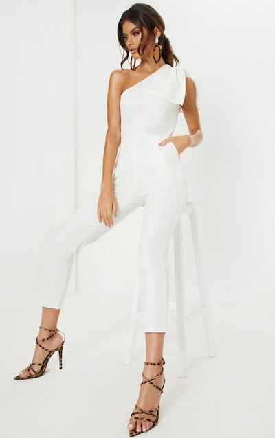 3161f81acff White One Shoulder Woven Sleeveless Jumpsuit