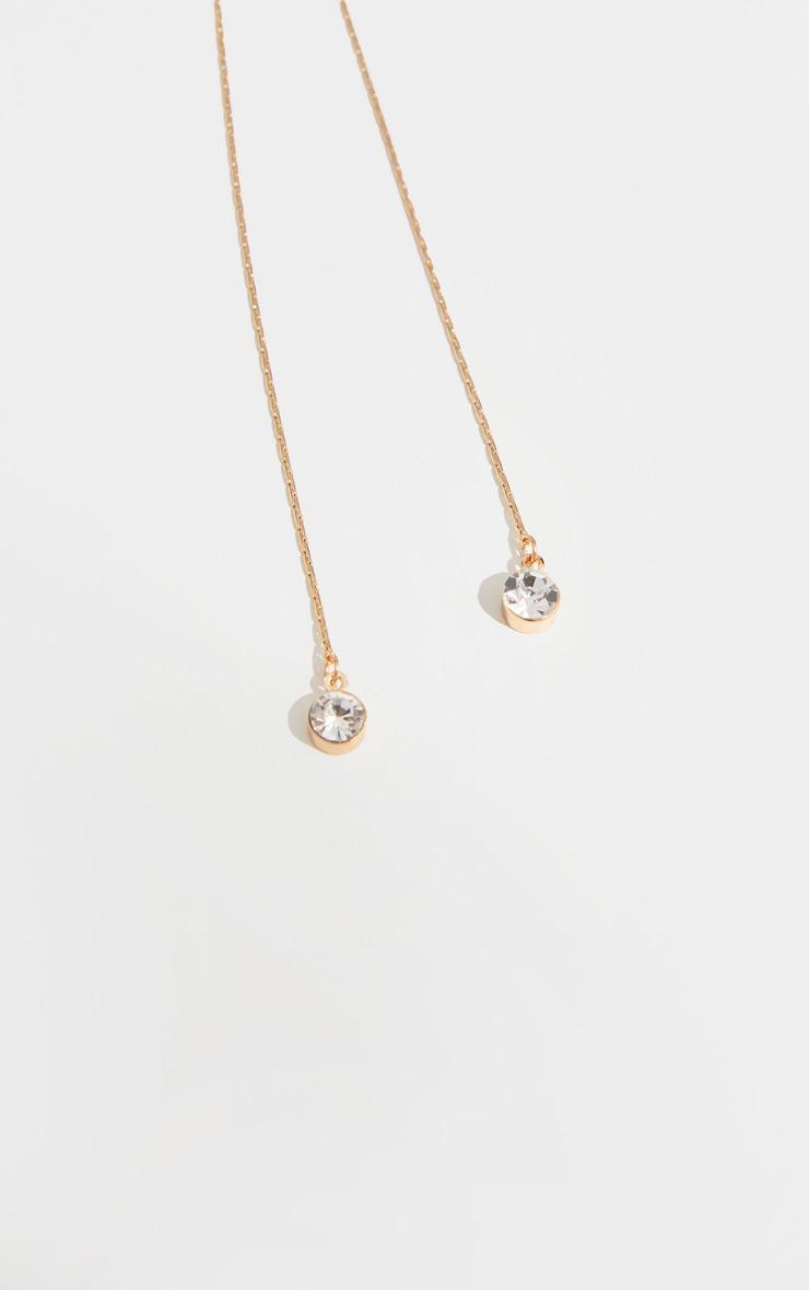 Gold Diamante Lariat Necklace 5