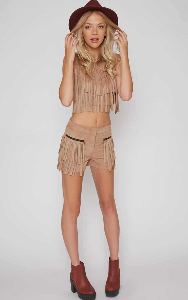 Elina Camel Fringed Short 3