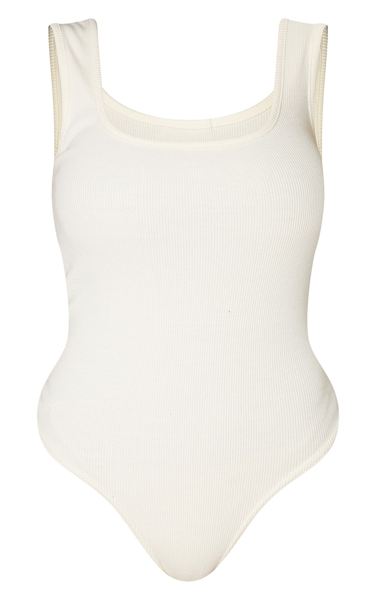 Shape Cream Ribbed Square Neck Bodysuit 3