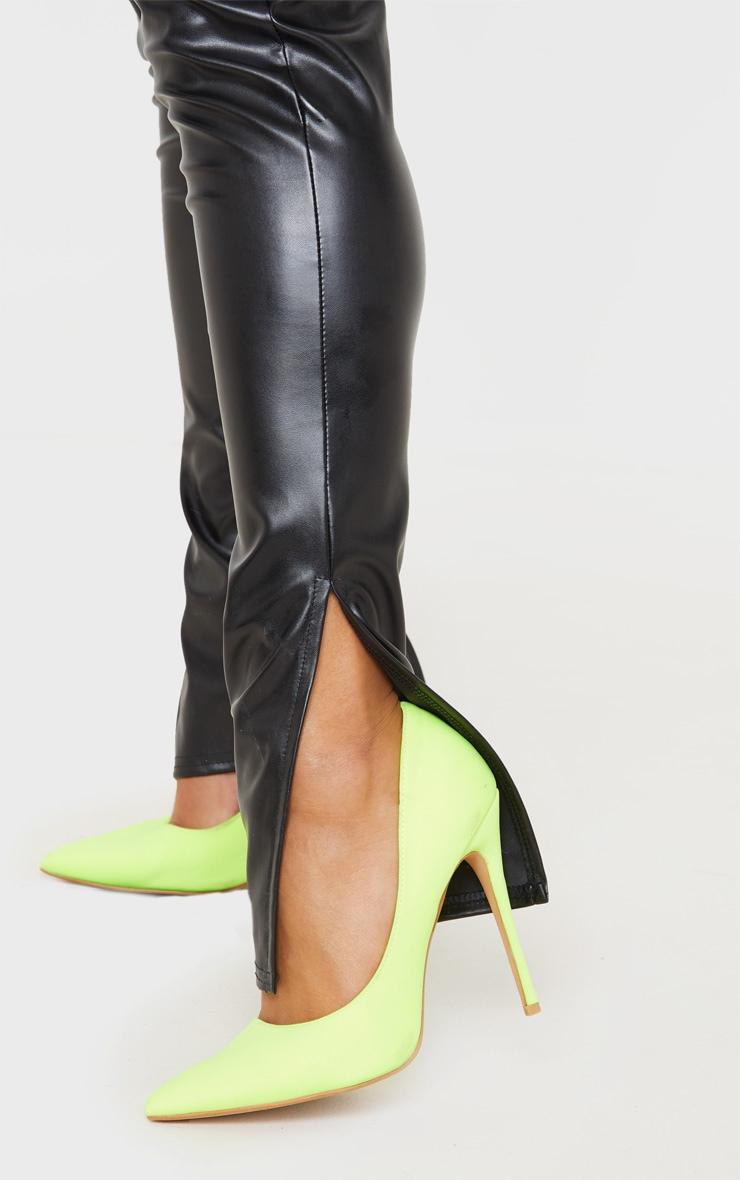 Black Faux Leather Split Hem Leggings 5