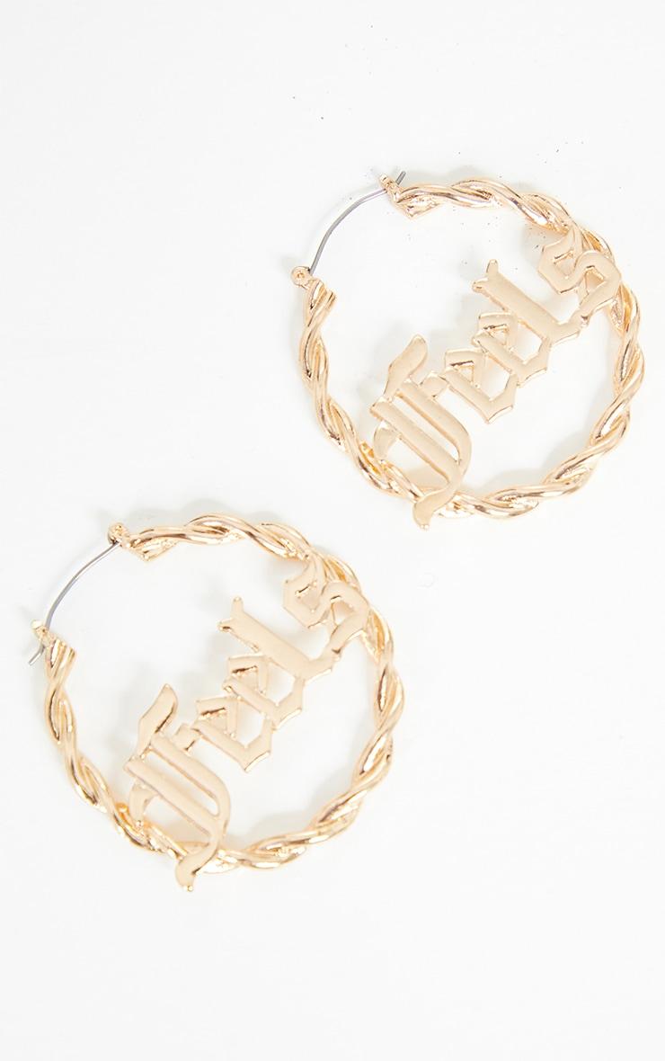 Gold Gothic Feels Hoop Earrings 1