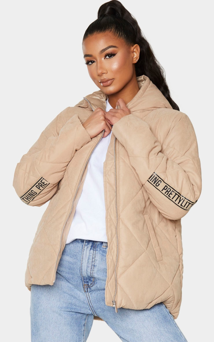 PRETTYLITTLETHING Stone Peach Skin Diamond Quilted Oversized Puffer 2