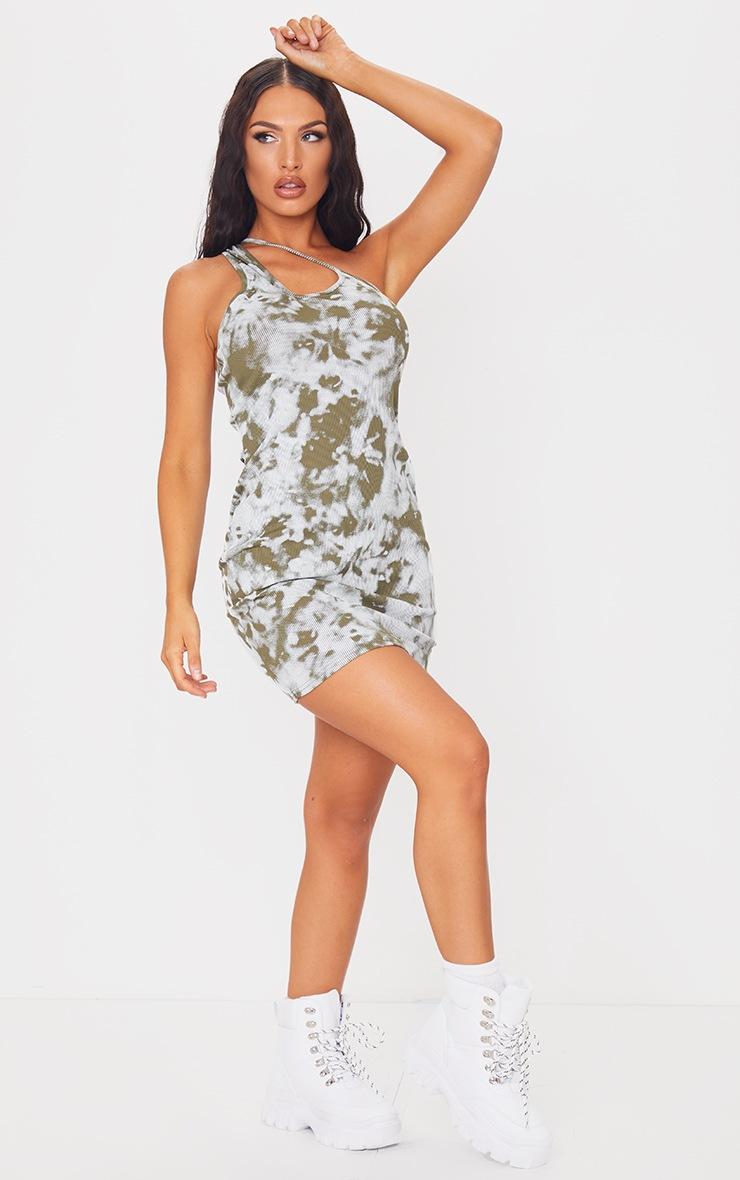 Green Tie Dye Asymmetric Strap Detail Bodycon Dress 3
