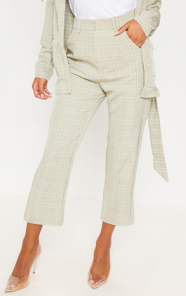 Sage Green Check Straight Leg Trouser 2