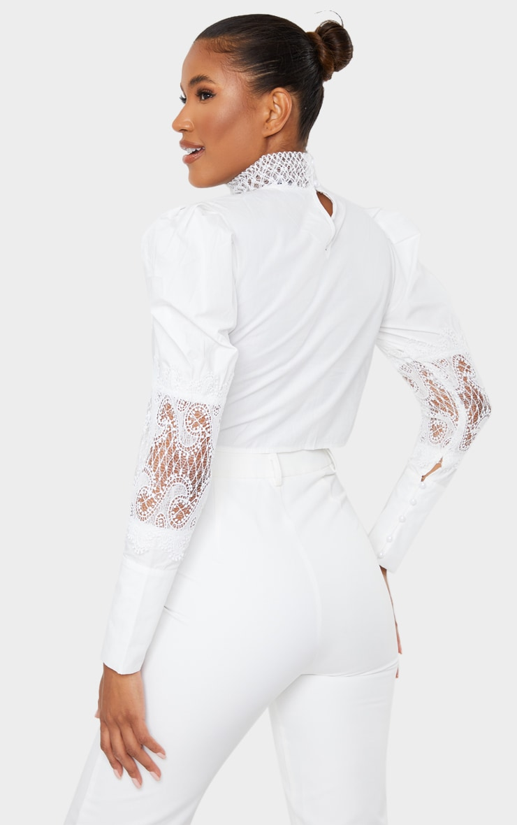 White Woven Lace Panel Puff Sleeve Cropped Blouse 2