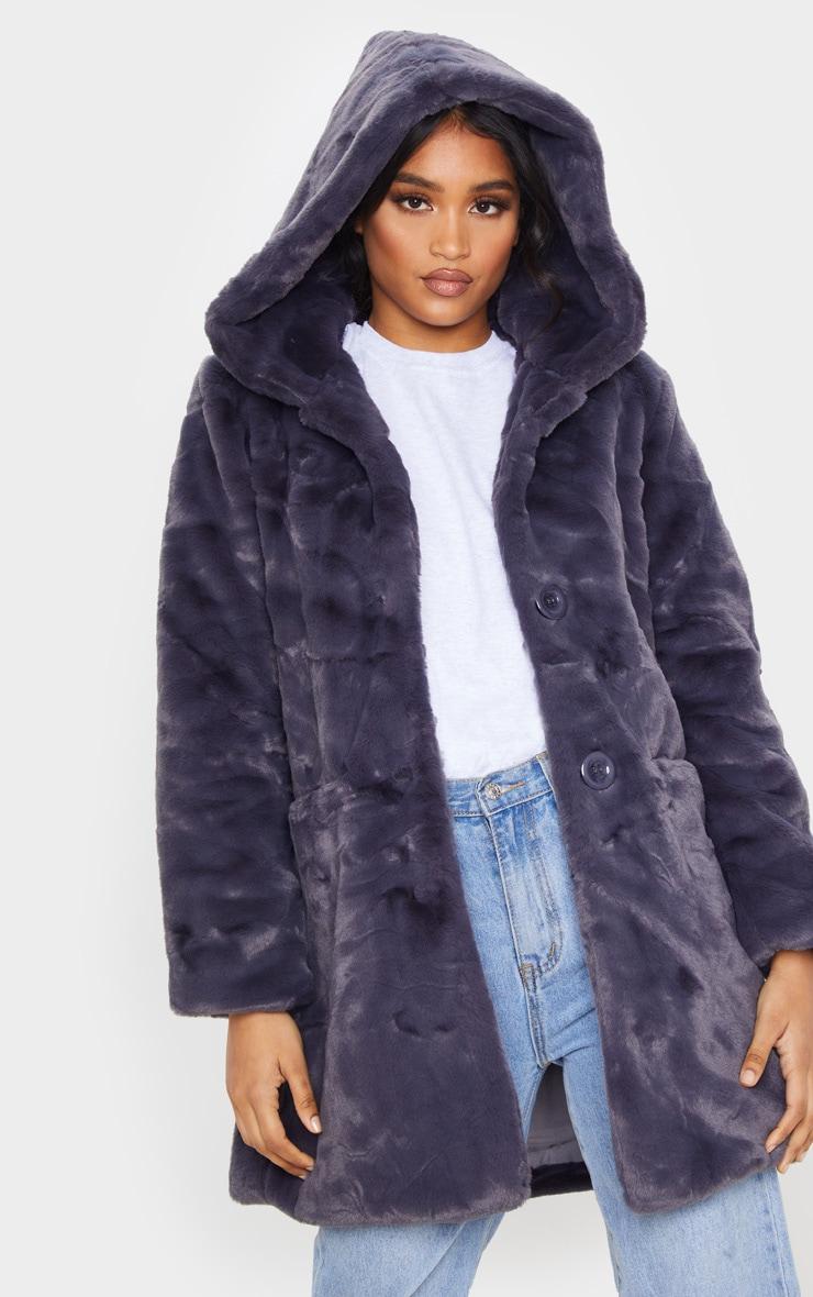 Dark Grey Hooded Faux Fur Midi Coat 5