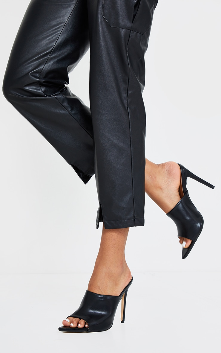 Black Pu Pointed High Heeled Mules 1
