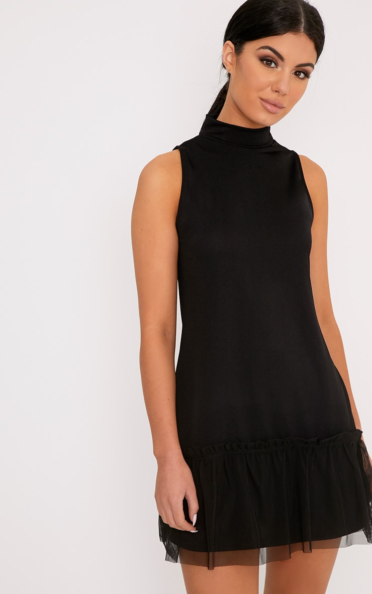 Brogan Black Mesh Detail Shift Dress 1