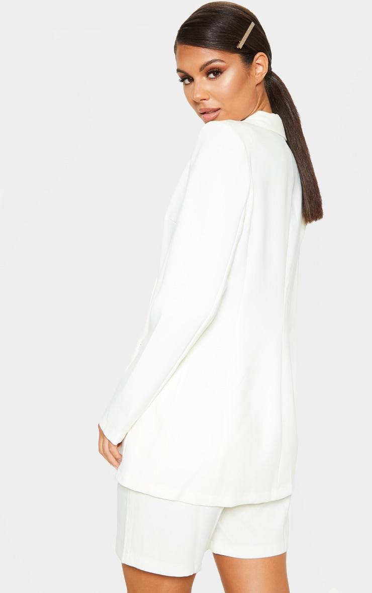 White Oversized Boyfriend Woven Blazer 3