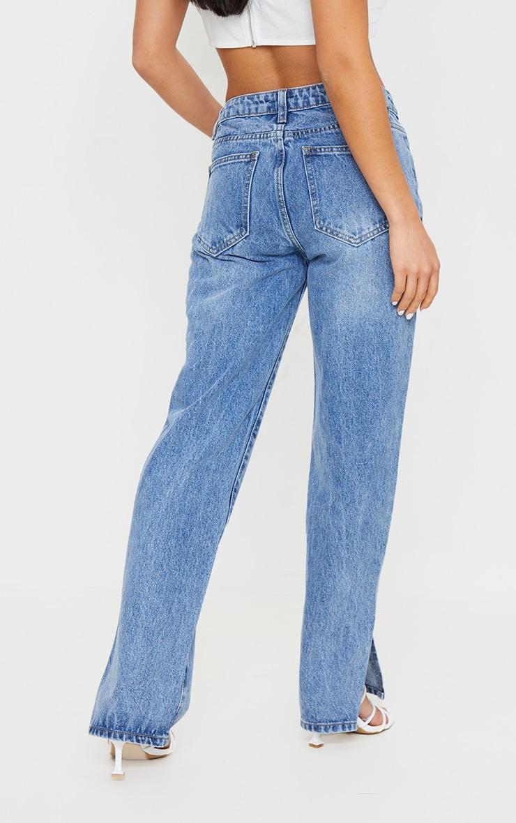Petite Mid Blue Low Rise Split Hem Jeans 3