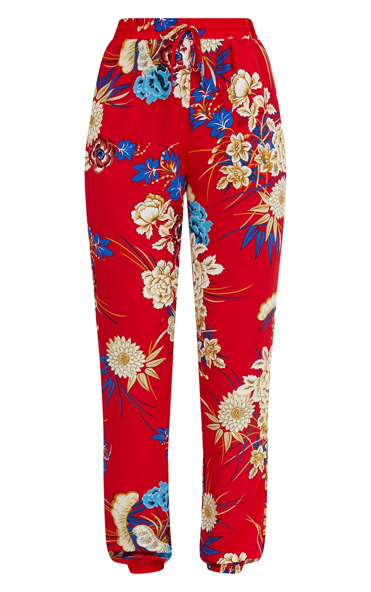 Red Printed Joggers 3